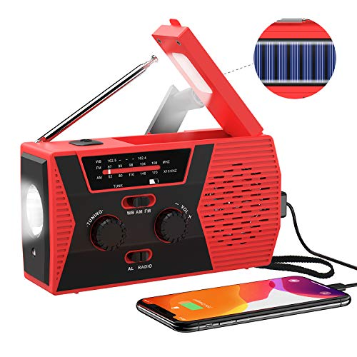 2020 Upgraded Version Emergency Solar Hand Crank Radio, Portable AM/FM NOAA Weather Radio for Outdoor Household Emergency Device, LED Flashlight, Reading Lamp, 2000mAh Power Bank USB Charger SOS Alarm