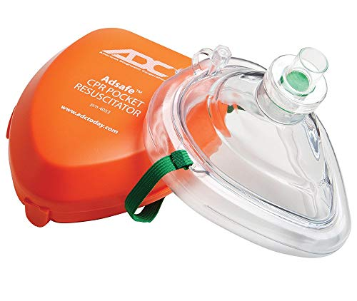 ADC Adsafe CPR Mask Pocket Resuscitator Kit; Filtrete Filter with replaceable valve, disposable non-latex gloves, and alcohol wipe; 2 Kits - 4053-2
