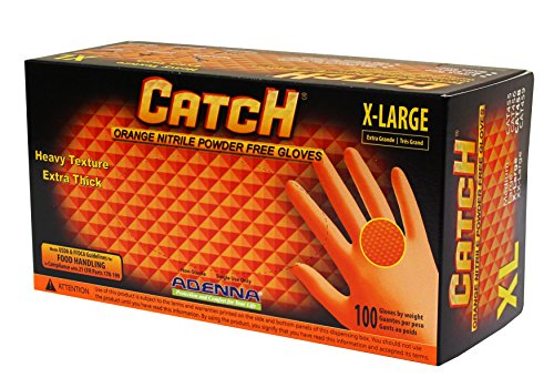 Adenna Catch 8 mil Nitrile Powder Free Gloves (Orange, X-Large) Box of 100