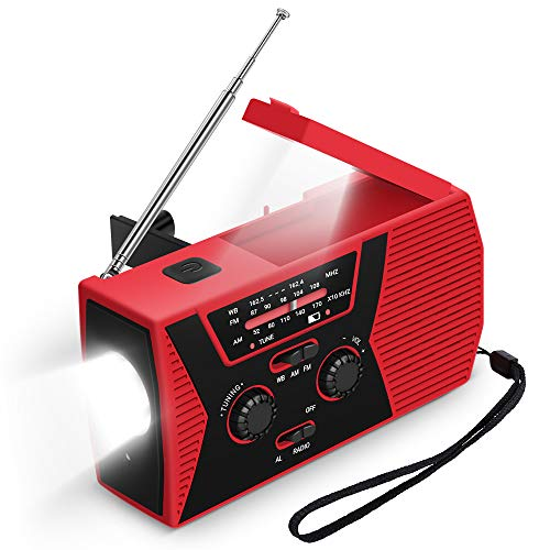 AIRSSON SOS 2000mAh Emergency Solar Hand Crank Portable Radio,NOAA Weather Radio for Household and Emergency with AM/FM,LED Flashlight,Reading Lamp,USB Charger,Battery Indicator (Red 1)