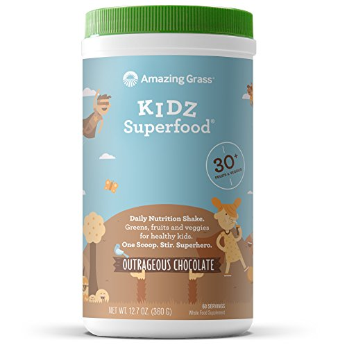 Amazing Grass Kidz Superfood: Organic Vegan Superfood Nutrition Shake for Kids, Greens, Fruits, Veggies with Pre and Pro Biotics, Outrageous Chocolate, 60 Servings