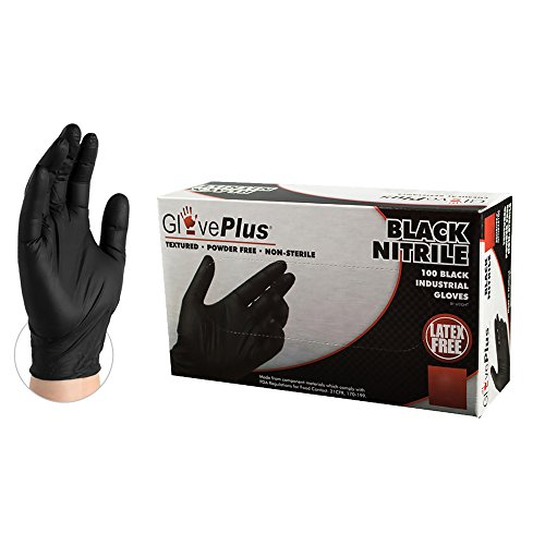 AMMEX GlovePlus Industrial Black Nitrile Gloves, Box of 100, 5 mil, Size XLarge, Latex Free, Powder Free, Textured, Disposable, GPNB48100-BX