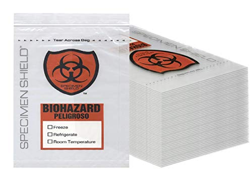 APQ Pack of 100 Biohazard 3 Wall Specimen Bags 8 x 10. Zip Locking Biohazard Lab Bags 8x10. Attached Document Pouch, 2 mil Thick. Tear Area. Printed Transport Bags for Packaging Medical specimens.