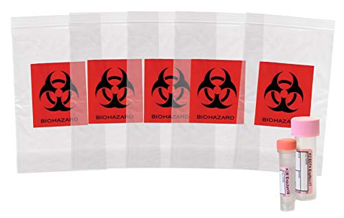 APQ Pack of 100 Biohazard Specimen Bags, Black and Red 3 x 5. Zip Lock Top Plastic Pouch Bags 3x5, Thickness 2 mil. Printed Polyethylene Transport Bags for Shipping, Packaging Medical Specimens.