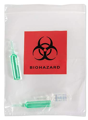 APQ Pack of 100 Biohazard Specimen Bags, Red and Black 6 x 9. Zipper Lockig Clear Bags 6x9. Thickness 2 mil. Printed Transport Bags 3 Wall for Packaging Medical Specimens. Attached Document Pouch.