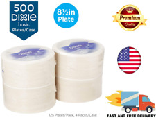 Bulk Paper Plates 500 Count Recyclable Heavy Duty Coated White Dixie Basic 8.5''