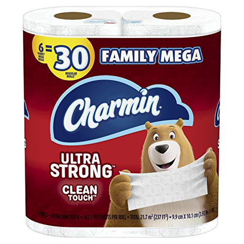Charmin Ultra Strong Clean Touch Toilet Paper, Family Mega Rolls, Prime Pantry, 363 Sheets Per Roll, 6 Count (Packaging May Vary)
