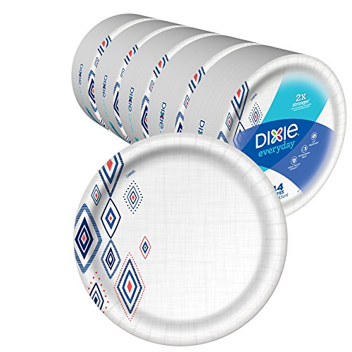 "Dixie Everyday Paper Plates,10 1/16"" Plate, Amazon Exclusive Design, Dinner Size Printed Disposable Plates, (5 Pack of 44 Plates), 220 Count"