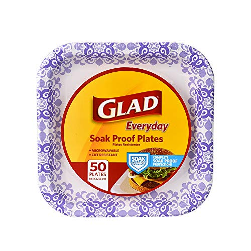 Glad Square Disposable Paper Plates for All Occasions | Soak Proof, Cut Proof, Microwaveable Heavy Duty Disposable Plates |50 Count Bulk Paper Plates | Size : 8.5