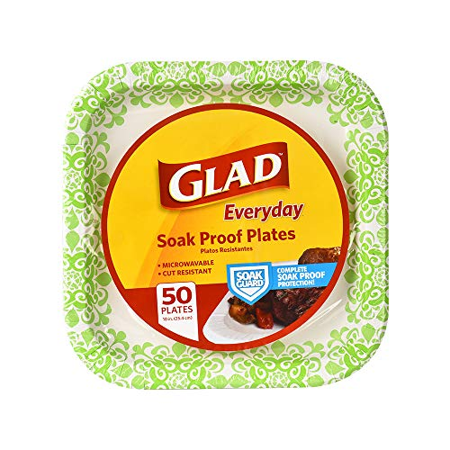 "Glad Square Disposable Paper Plates for All Occasions | Soak Proof, Cut Proof, Microwaveable Heavy Duty Disposable Plates | 10"" Diameter, 50 Count Bulk Paper Plates"