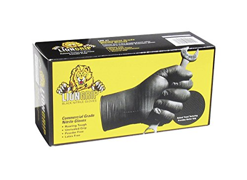 Lion Grip 8 mil Black Disposable Nitrile Gloves, X-Large, Box of 100 - Superior Grip for Mechanics, Auto Hobbyists, Industrial & Manual Laborers, Cleaning Work & More EPPCO 11045