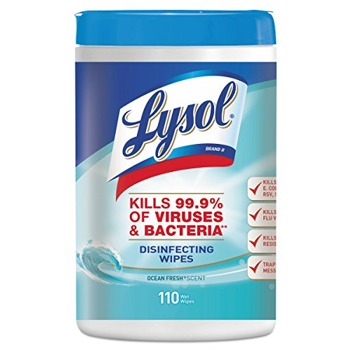 LYSOL Brand 93010CT Disinfecting Wipes, Ocean Fresh Scent, 7 x 8, White, 110 Per Canister, Pack of 6