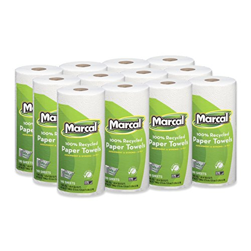"""Marcal Paper Towels U-Size-It Sheets 2 Ply 140 Sheets Per Roll 100% Recycled - 12""""Roll Out"""" Rolls Per Case Green Seal Certified Paper Towel Rolls 06183"""