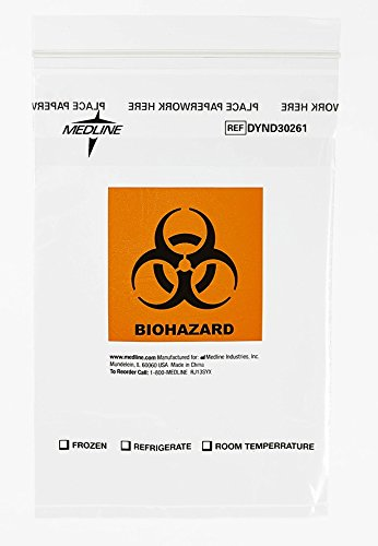 "Medline DYND30261 Zip-Style Biohazard Specimen Bags, Plastic, Latex Free, 9"" Length, 6"" Width, Clear (Pack of 1000)"