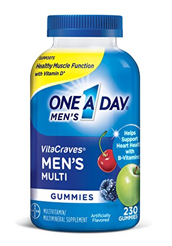 One A Day Men's Vitacraves Multivitamin Gummies, Supplement With Vitamins A, C, E, B6, B12, & Vitamin D, 230 Count