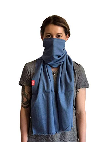 Scough Protection Scarf with Activated Carbon Filter Protectant - MADE IN THE USA protect against dust, pollutants, ash, allergens and germs - Jasper (Blue)
