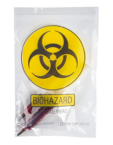 Specimen Bags - 100-Pack Biohazard Bags - Durable Hazardous Waste Hazmat Bags for Specimen Collection and Waste, Clear, 9.1 x 5.9 Inches