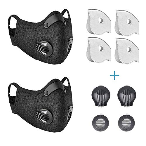 2 Pack Dust Mask by undwider, Anti Dust Face Mask with Valve, Reusable Breathing Outdoor Facial Mask for Men and Women, 4 Filters and 2 Valves Included, Black