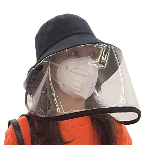 A-SZCXTOP Protective Facial Mask Safety Face Shield Particulate Respirator Anti Spitting Splash Hat Removable Isolation Anti Pollution Hat Windproof Sand dustproof Windshield Fisherman Hat (Black)