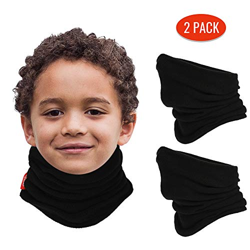 aegend 2 Pack Fleece Neck Warmer for Kids (Age 4-12), Black