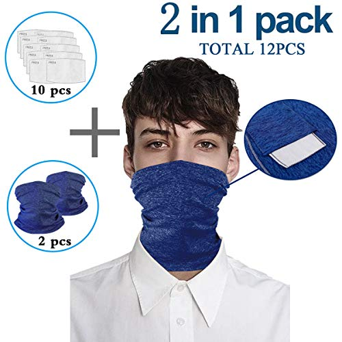 Blue Infinity Scarf Bandanas Neck Gaiter Face Caver with Safety Filters, Unisex Anti-Dust Washable, For Men Women Outdoors/Festivals/Sports, Multi-purpose