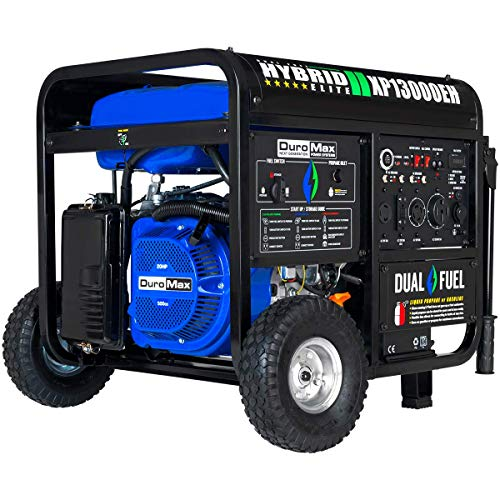 DuroMax XP13000EH Dual Fuel Portable Generator - 13000 Watt Gas or Propane Powered-Electric Start- Home Back Up & RV Ready, 50 State Approved,Blue/Gray