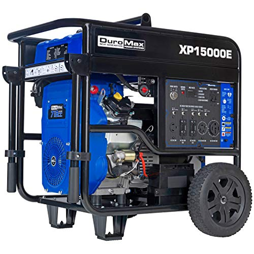 DuroMax XP15000E Gas Powered Portable-15000 Watt-Electric Start- Home Back Up & RV Ready, Generator 50 State Approved,Blue/Black