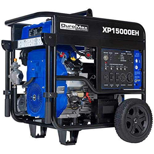 DuroMax XP15000EH Dual Fuel Portable Generator - 15000 Watt Gas or Propane Powered-Electric Start- Home Back Up & RV Ready, 50 State Approved,Blue and Black