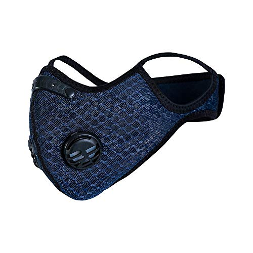 Dust Mask with Filters, Reusable Activated Carbon Dustproof Respirator Safety Breathing Mask for Pollen Allergy Woodworking Mowing Running Cycling Outdoor Activities (Navy Blue)