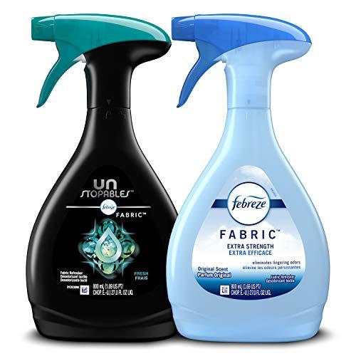 Febreze Fabric Refresher, Odor Eliminator, Extra Strength + Unstopables, Fresh Scent, 2 Count, Original Version, 27 Fl Oz (Pack of 2)