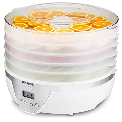Gourmia GFD1550 Food Dehydrator - Digital Temperature Settings - Five Nesting Trays - Drying System for Beef Jerky, Fruits & More - BPA Free - 500W - White - Free Recipe Book