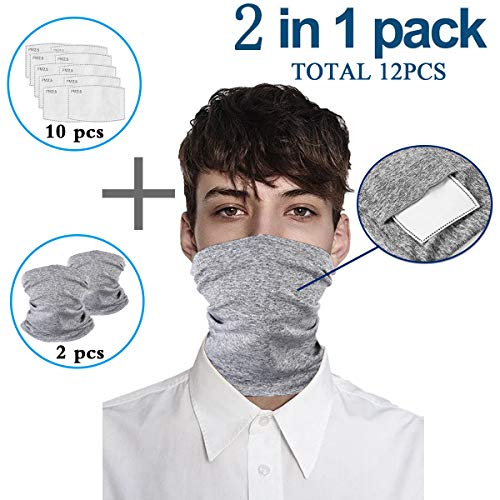 Grey Infinity Scarf Bandanas Neck Gaiter Face Cover with Safety Filters, Unisex Anti-Dust Washable, For Men Women Outdoors/Festivals/Sports, Multi-purpose Face Mark