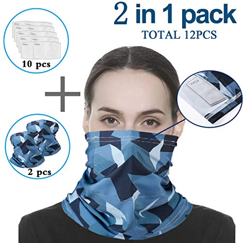 Infinity Scarf Bandanas Neck Gaiter Face Cover with Safety Filters, Unisex Anti-Dust Washable, For Men Women Outdoors/Festivals/Sports, Multi-purpose Face Mask