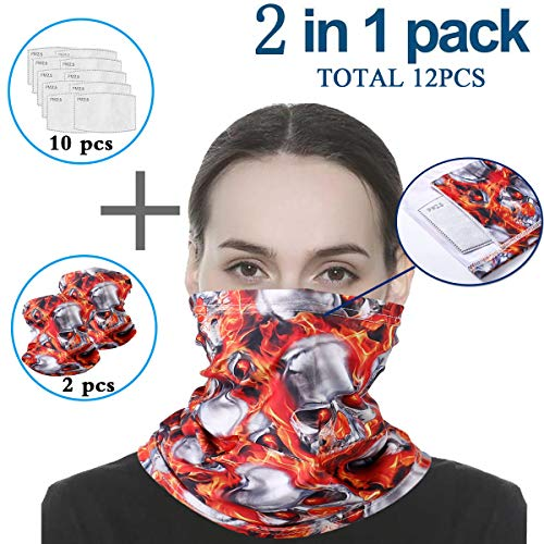 Infinity Scarf Bandanas Neck Gaiter Face Cover with Safety Filters, Unisex Anti-Dust Washable, For Men Women Outdoors/Festivals/Sports, Multi-purpose Face Mack