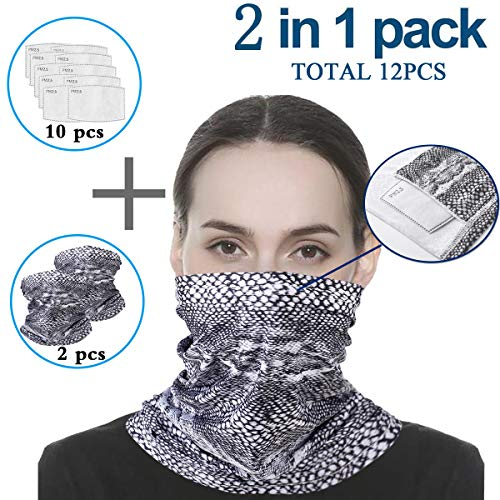 Infinity Scarf Bandanas Neck Gaiter Face Cover with Safety Filters, Unisex Anti-Dust Washable, For Men Women Outdoors/Festivals/Sports, Multi-purpose