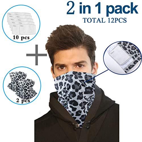 Infinity Scarf Bandanas Neck Gaiter Face Mask with Safety Filters, Unisex Anti-Dust Washable, For Men Women Outdoors/Festivals/Sports, Multi-purpose