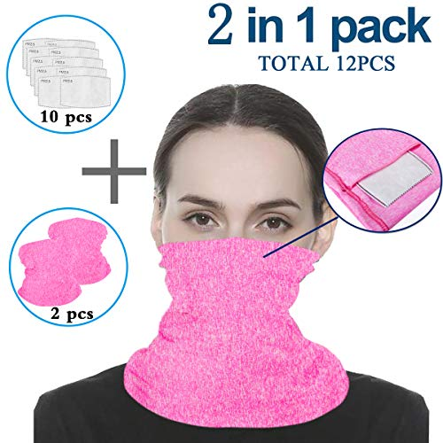 Pink Infinity Scarf Bandanas Neck Gaiter Face Cover with Safety Filters, Unisex Anti-Dust Washable, For Men Women Outdoors/Festivals/Sports, Multi-purpose