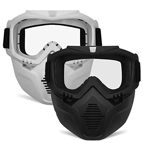POKONBOY 2 Pack Detachable Face Masks, Tactical Mask with Goggles Compatible with Nerf Rival , Apollo, Zeus, Khaos, Atlas, & Artemis Blasters Rival Mask ( Black & White )