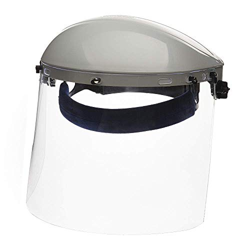 Sellstrom S30120 Advantage Series All-Purpose Face Shield, Clear Polycarbonate Shield, Ratchet Headgear with Blue Comfort Temple Band, (Before Use - Remove Protective Film from Both Sides of Shield)