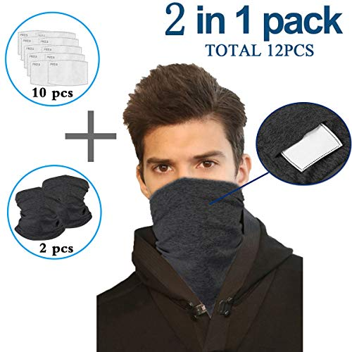 Solid Black Infinity Scarf Bandanas Neck Gaiter Face Cover with Safety Filters, Unisex Anti-Dust Washable, For Men Women Outdoors/Festivals/Sports, Multi-purpose