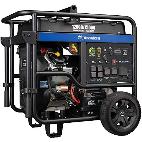 Westinghouse WGen12000 Ultra Duty Portable Generator - 12000 Rated Watts & 15000 Peak Watts - Gas Powered - Electric Start - Transfer Switch & RV Ready - CARB Compliant