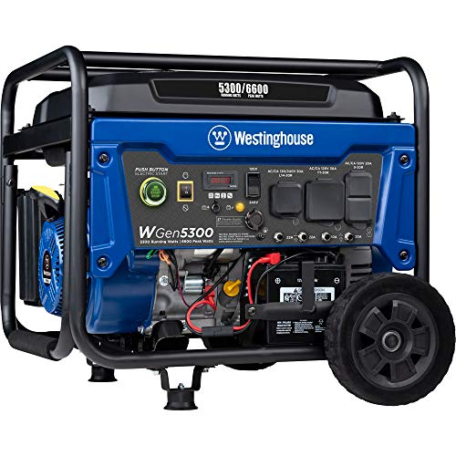 Westinghouse WGen5300 Portable Generator with Remote Electric Start and 120/240 Volt Selector 5300 Rated 6600 Peak Watts Gas Powered, CARB Compliant, RV and Transfer Switch Ready