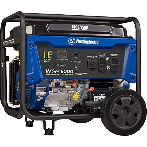 Westinghouse WGen6000 Portable Generator 6000 Rated & 7500 Peak Watts, Gas Powered, Electric Start, Transfer Switch Ready, CARB Compliant