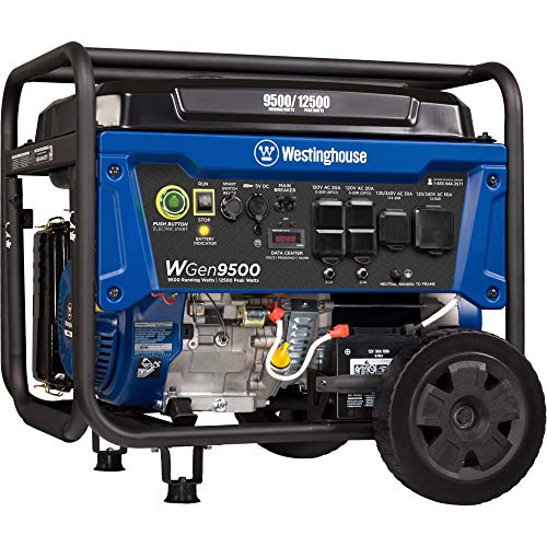 Westinghouse WGen9500 Heavy Duty Portable Generator - 9500 Rated Watts & 12500 Peak Watts - Gas Powered - Electric Start - Transfer Switch & RV Ready - CARB Compliant