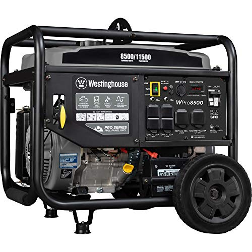 Westinghouse WPro8500 Super Duty Industrial Portable Generator - 8500 Rated Watts & 11500 Peak Watts - Gas Powered - Electric & Remote Start - OSHA & CARB Compliant