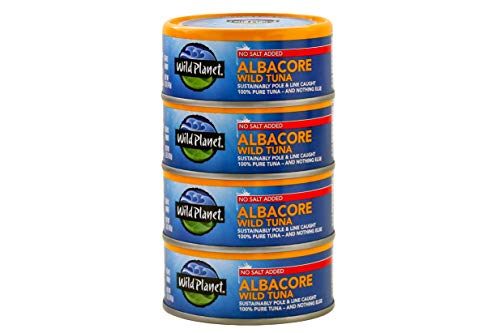 Wild Planet Albacore Wild Tuna, No Salt Added, Wildly Delicious - Pole & Line Caught, 3rd Party Mercury Tested, 5 Oz, 4Count