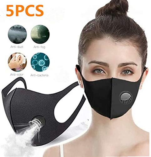 Zeiger 5 PCS Face Masks with Breathing – 100% Cotton, Washable, Reusable Cloth Masks – Protection from Dust, Pollen, Pet Dander, Other Airborne Irritants