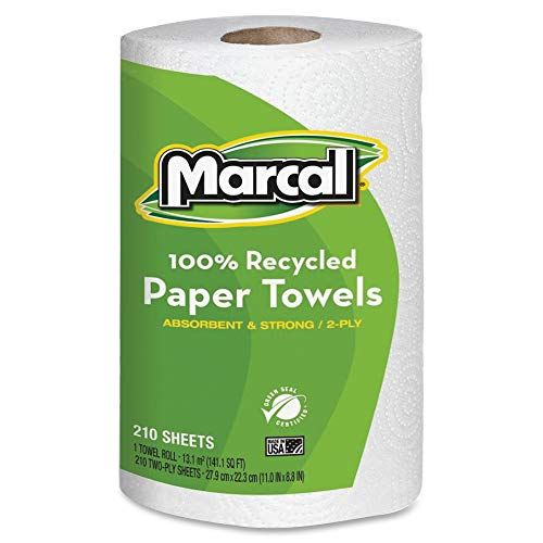 """Paper Towels Jumbo Roll, 100% Recycled, 2 Ply - 11"""" x 9"""" - 210 Sheets/Roll - White, 1 Roll"""