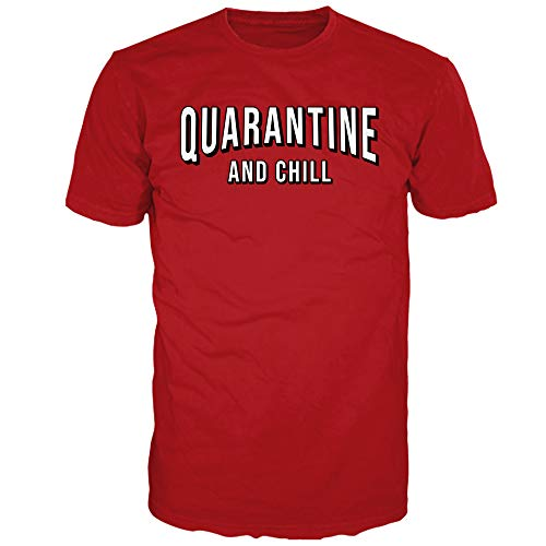 The Original Quarantine and Chill Funny Coronavirus T-Shirt for Men (Red, Small)
