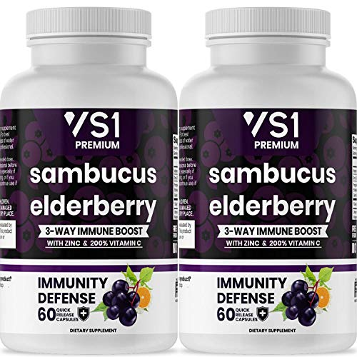 (2-Pack) Sambucus Elderberry Capsules with Zinc & Vitamin C - Immune System Support for Women & Men's Daily Supplement, Powerful Antioxidant - Natural Elderberries - Veggie Caps - 120 Capsules - VS1